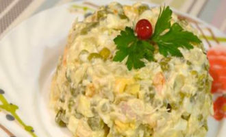 салат оливье с куриной грудкой фото