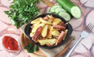 фото к рецепту жареная картошка с колбасой