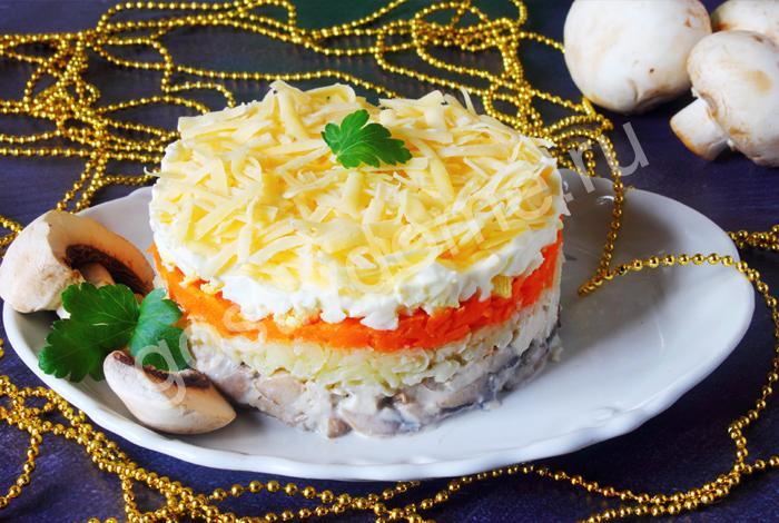 фото к рецепту салат с курицей, грибами и сыром