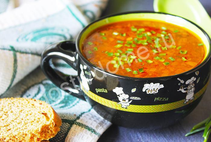 фото к рецепту суп с копченой колбасой